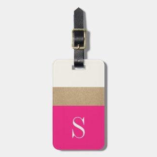 Modern Monogram Hot Pink Gold Striped Luggage Tag