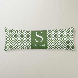 Modern Monogram Lattice in Military Green Body Cushion