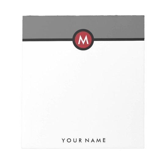 Modern Monogram Memo Note Pad - Black/Red/Grey