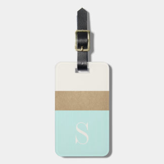 Modern Monogram Mint Green Gold Stripe Luggage Tag