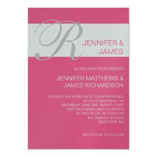 Modern Monogram Names Pink Wedding Invitations
