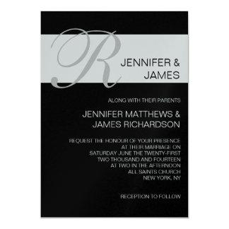Modern Monogram Names Silver Wedding Invitations