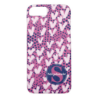 Modern Monogram Navy Purple Hearts and Polka Dots iPhone 7 Case