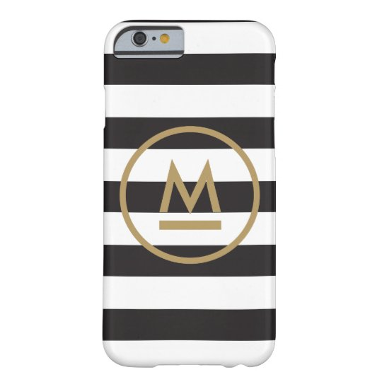 Modern Monogram on Bold Stripes Personalised Barely There