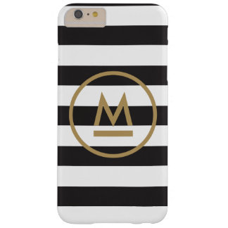 Modern Monogram on Bold Stripes Personalized Barely There iPhone 6 Plus Case