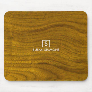 Modern Monogram on Faux Wood Mouse Pad