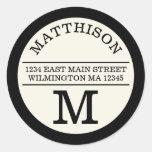 Modern Monogram Personal Round Address Label Round Sticker