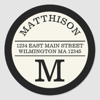 Modern Monogram Personal Round Address Label Round Sticker