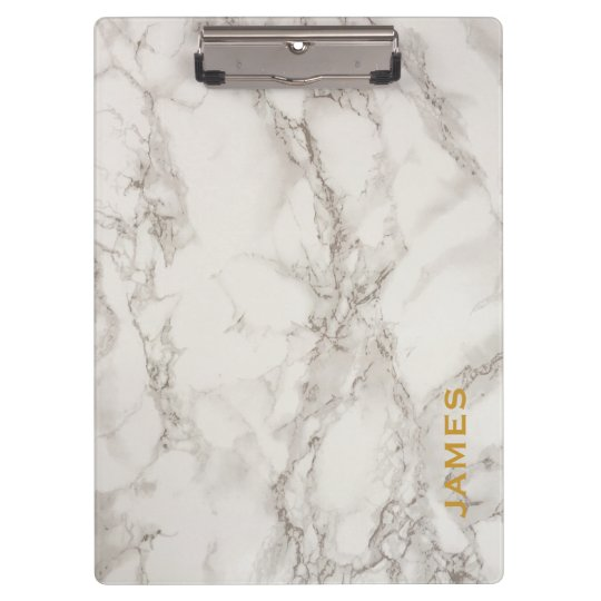 Modern Monogram Personalised Marble and Gold Clipboard