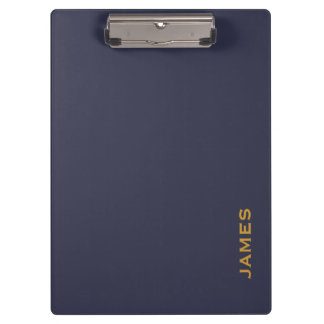 Modern Monogram Personalized Blue and Gold Clipboards
