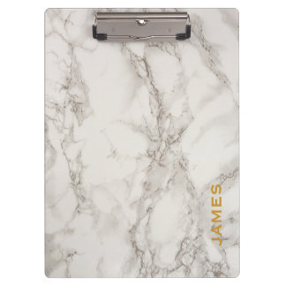 Modern Monogram Personalized Marble and Gold Clipboard