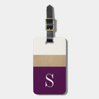 Modern Monogram Purple Gold Striped | Luggage Tag