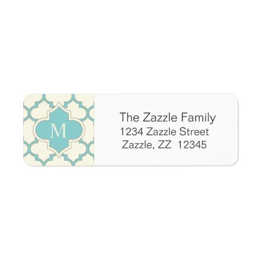 Modern Monogram Quatrefoil Pattern Ivory Turquoise