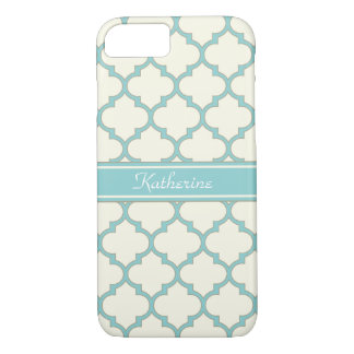 Modern Monogram Quatrefoil Pattern Ivory Turquoise iPhone 8/7 Case
