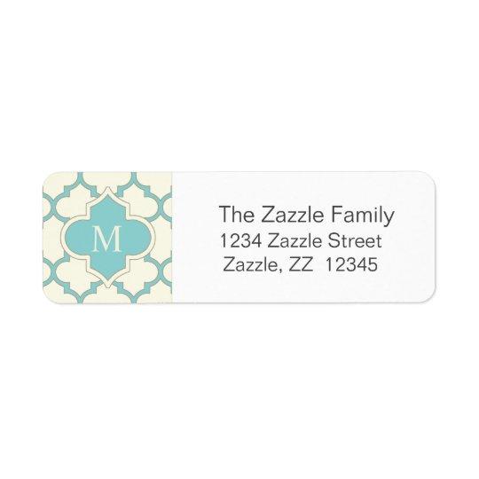 Modern Monogram Quatrefoil Pattern Ivory Turquoise Return Address Label