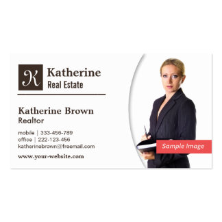 Modern, Monogram, Realtor, Real Estate, Photo Business Card Template