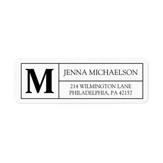 Modern Monogram Return Address Label