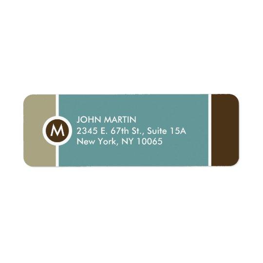 Modern Monogram Return Address Label - Blue/Brown