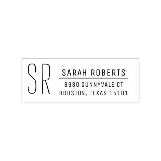 Modern Monogram Return Address Stamp