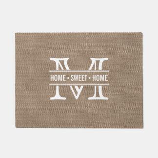 Modern Monogram & Rustic Burlap Effect Doormat