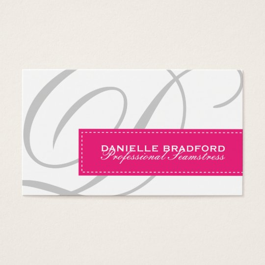 Modern Monogram Seamstress Business Cards