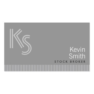 Modern Monogram Stock Broker Business Card
