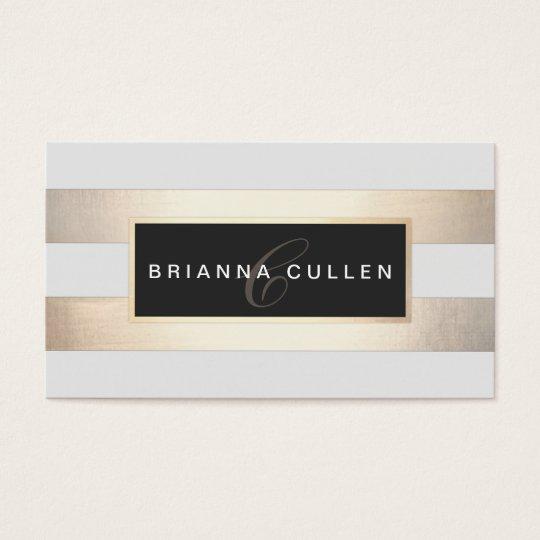 Modern Monogram Striped Gold Foil (image) Black Business