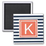 Modern Monogram Stripes Magent Fridge Magnet