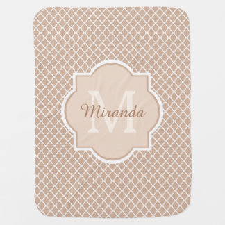 Modern Monogram Tan and White Quatrefoil With Name Baby Blankets
