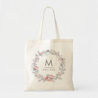 Modern Monogram Vintage Rustic Floral Tote Bag