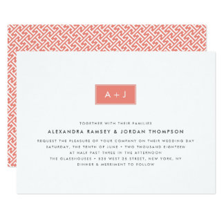 Modern Monogram Wedding Invitation | Coral