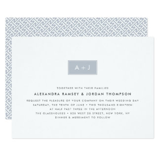 Modern Monogram Wedding Invitation | Slate