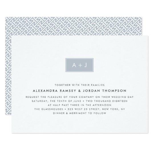 Modern Monogram Wedding Invitation   Slate