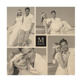 Modern Monogram Wedding Photo Collage Wood Art