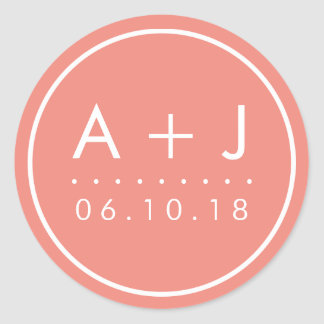 Modern Monogram Wedding Stickers | Coral