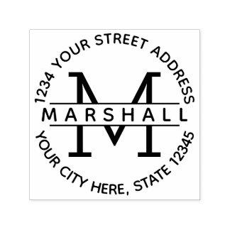Modern Monogram with Name and Return Address Self-inking Stamp