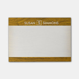 Modern Monogram with Name on Wood Print Post-it Notes
