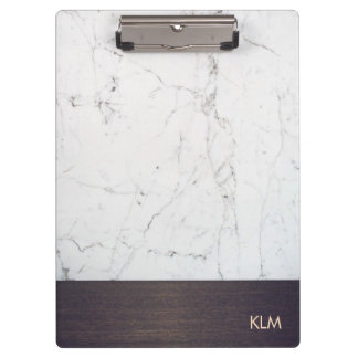 Modern Monogram Wood White Marble Clipboards
