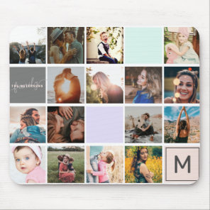 Modern monogram your family 16 photo collage grid mouse mat