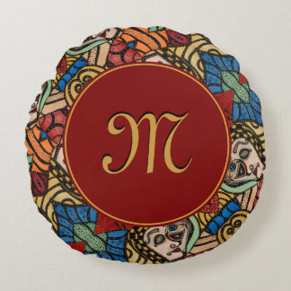 Modern Monogrammed Abstract Faces Fashion Beauty Round Cushion