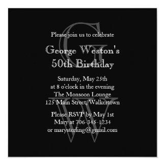 "Modern Monogrammed Birthday Invitation  (black) 5.25"" Square Invitation Card"