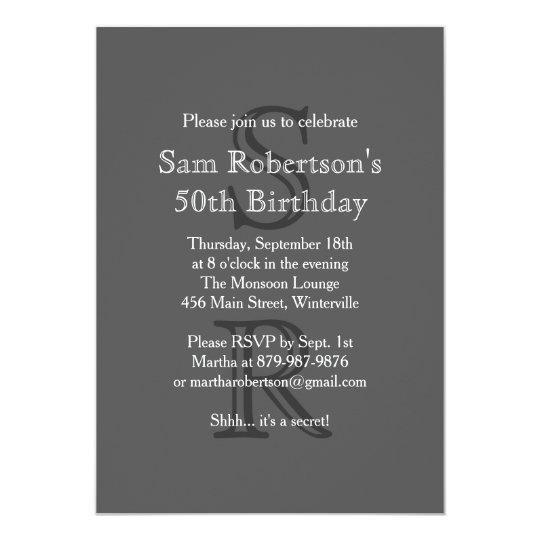 Modern Monogrammed Birthday Invitation (grey)