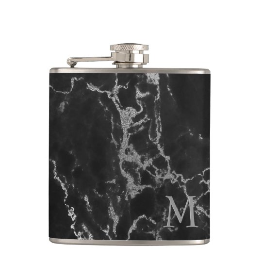 Modern Monogrammed Black And Grey Marble Stone Hip