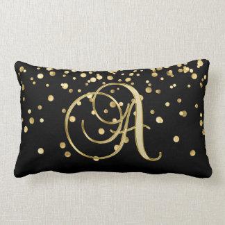Modern Monogrammed Black Gold Letter 'A' Confetti Lumbar Pillow