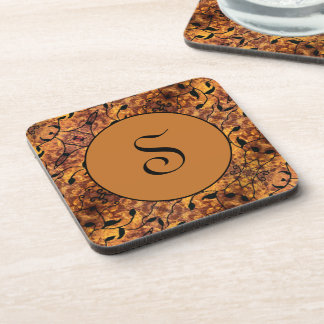 Modern Monogrammed Fall Leaves Silhouette Pattern Coaster