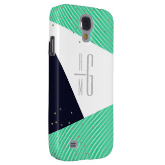 MODERN Monogrammed Geo Stripes & Glitter dots Galaxy S4 Case