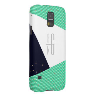 MODERN Monogrammed Geo Stripes & Glitter dots Galaxy S5 Cases
