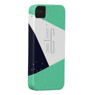 MODERN Monogrammed Geo Stripes & Glitter dots iPhone 4 Cases