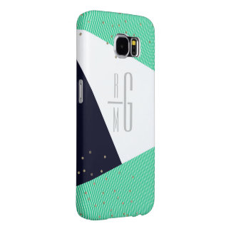 MODERN Monogrammed Geo Stripes & Glitter dots Samsung Galaxy S6 Cases