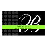 Modern Monogrammed Interior Design Lime Black Grey Pack Of Standard Business Cards